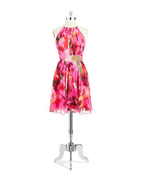 Women's Metal Halter Floral Dress by Eliza J in Couple's Retreat