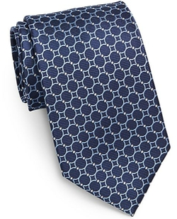 Circle-Print Silk Tie by Saks Fifth Avenue Black in Suits