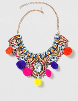 Statement Festival Pom-Pom Necklace by Topshop in Fuller House