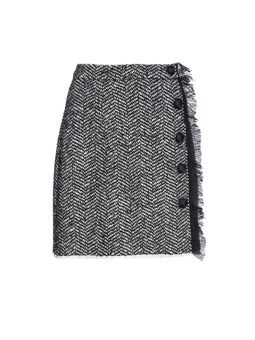 Side-Fringe Herringbone Tweed Mini Skirt by Dolce & Gabbana in The Good Wife - Season 7 Episode 10