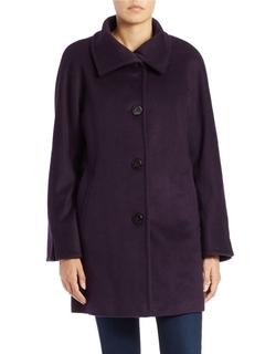 Single-Breasted Wool-Blend Coat by Ellen Tracy in Black-ish