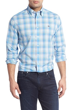 'Putnam Plaid Whale' Sport Shirt by Vineyard Vines in New Girl