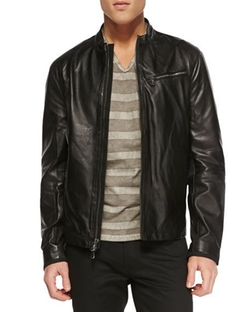 Tumbled Leather Moto Jacket by John Varvatos Star USA in Animal Kingdom