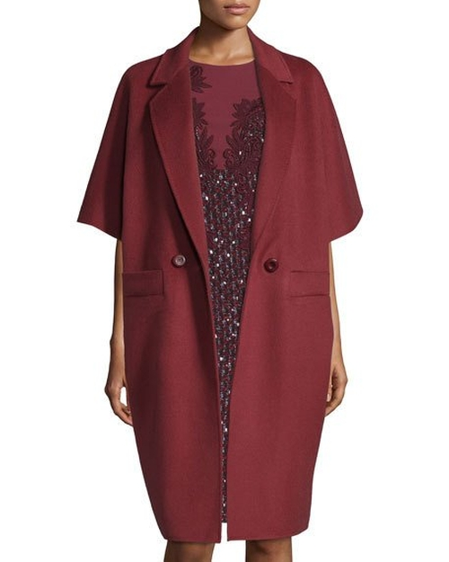 Double-Breasted Kimono-Sleeve Cocoon Coat by Escada in How To Get Away With Murder - Season 3 Episode 1