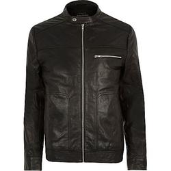 Black Leather Racer Biker Jacket by River Island in Arrow