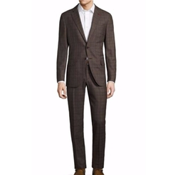 Raised Boucle Plaid Wool Suit by Isaia in Empire