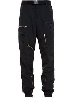 Nylon Multi Zip Jogger Pants by Moschino in Empire
