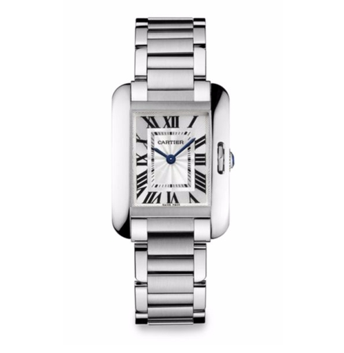 Tank Anglaise Small Stainless Steel Bracelet Watch by Cartier in Suits - Season 6 Episode 7