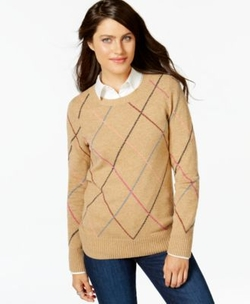 Multicolor Argyle Sweater by Tommy Hilfiger in Supergirl