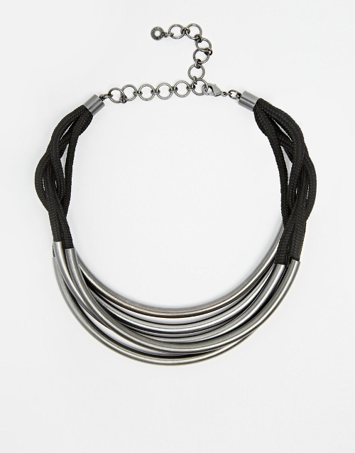 Haematite Tube Leather Choker Necklace by Pilgrim in Absolutely Anything