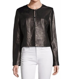 Collarless Cropped Pebbled Leather Jacket by Bagatelle in Supergirl