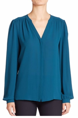 Silk Georgette Slit Neck Blouse by Michael Kors Collection in Animal Kingdom