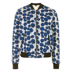 Floral Print Jersey Bomber Jacket by Topshop in Guilt