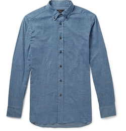 Button-Down Collar Cotton-Chambray Shirt by Brioni in Scandal