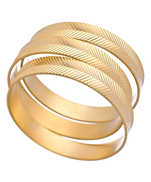 Gold Leaf Bangle Set Bracelet by David Aubrey in Sisters