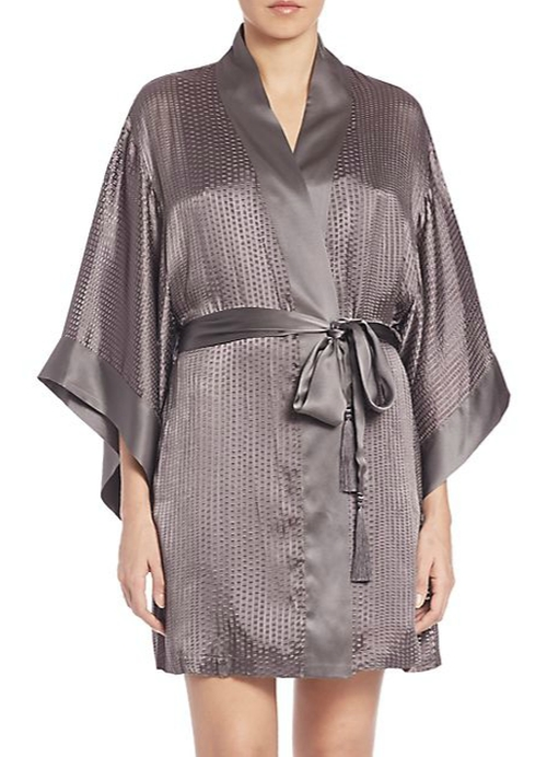 Textured Silk-Blend Wrap Robe by Josie Natori in Focus