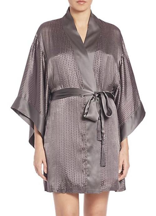 Textured Silk-Blend Wrap Robe by Josie Natori in Focus