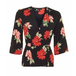 Rita Floral Wrap Top by Topshop in New Girl