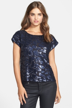 Sequin Pattern Blouse by Vince Camuto in Knock Knock