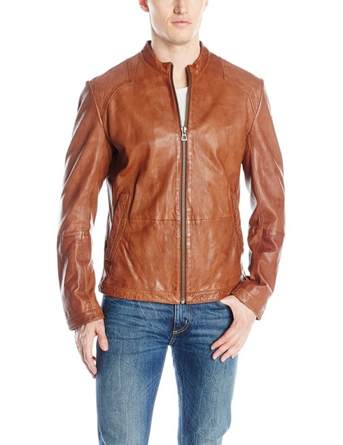 Men's Jips7 Sheep-Leather Jacket by Boss Orange in Rosewood - Season 1 Episode 7