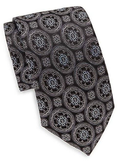 Flower Medallion Silk Tie by Saks Fifth Avenue in Billions - Season 1 Episode 2