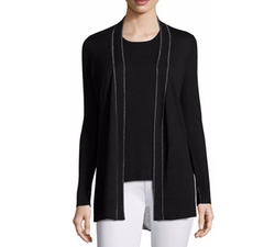 Superfine Chain-Trim Open Cardigan by Neiman Marcus Cashmere Collection in Powerless