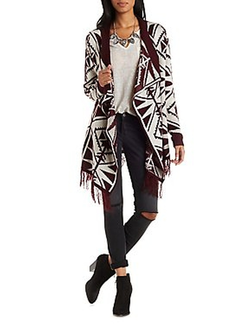 Geometric Print Cascade Cardigan by Charlotte Russe in Master of None - Season 1 Episode 3