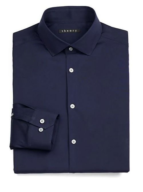 Slim-Fit Dover Luxe Dress Shirt by Theory in The Second Best Exotic Marigold Hotel