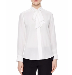 Caline Tie-Neck Silk Shirt by Sandro in Power