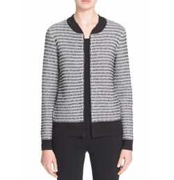 Basket Knit Bomber Jacket by St. John Collection in The Boss