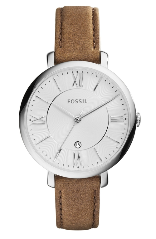 'Jacqueline' Round Leather Strap Watch by Fossil in Dirty Dancing
