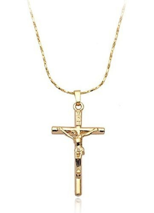 Crucifix Pendant Unisex Cross Necklace by Shiny Lovely Jewelry in Entourage