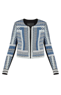 Duke Embroidered Woven Jacquard Jacket by BCBGMAXAZRIA in Supergirl