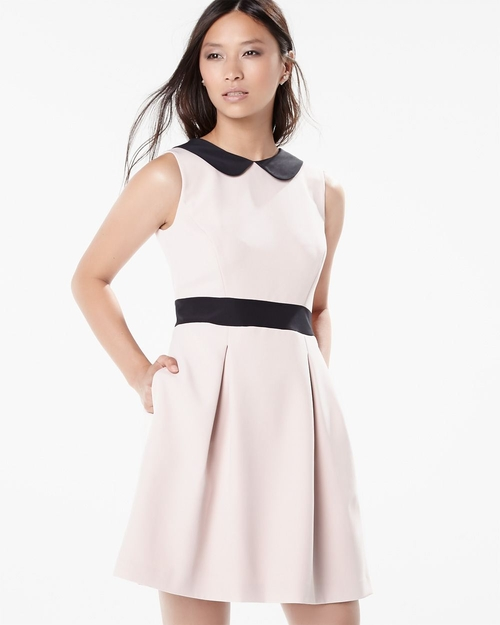 Sleeveless Flare Dress With Contrast Collar by RW & Co in Scream Queens - Season 1 Episode 2