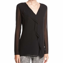 Silk Asymmetric-Ruffle Blouse by St. John Collection in Billions