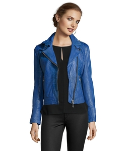 Contrast Zip Lamb Moto Jacket by Doma Leather in Billions