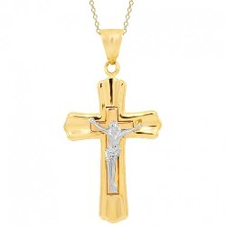 Three Tone Solid Gold Cross Pendant by Avianne Jewelers in The Town