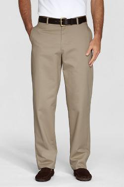 Young Men's Plain Front Stain & Wrinkle Resistant Chino Pants by Lands' End in Unbroken