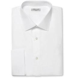 White Double-Cuff Cotton Shirt by Charvet in Fast Five