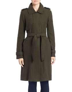 Long Wool Blend Trench Coat by Vince Camuto in Arrow