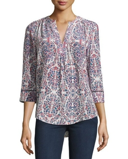 Long-Sleeve Floral-Print Silk Blouse by Rebecca Taylor in The Boss
