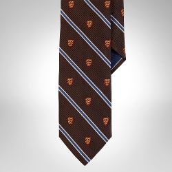 Silk Repp Club Narrow Tie by Ralph Lauren in Southpaw