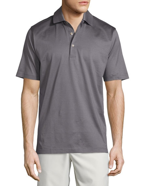 Solid Lisle-Knit Cotton Polo Shirt by Peter Millar in Crazy, Stupid, Love.