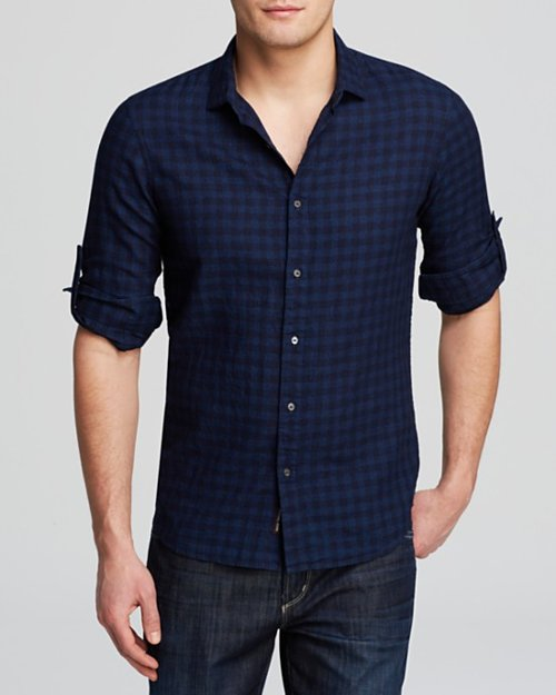 Indigo Linen Check Button Down Shirt by Michael Kors in While We're Young