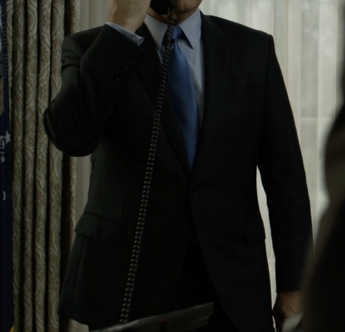 Custom Made Black Notch Lapel Suit by Hugo Boss in House of Cards - Season 4 Episode 11