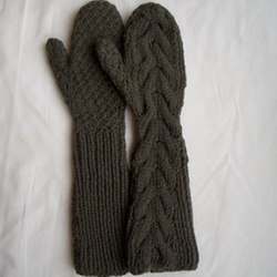 Long Cabled Mitten Gloves by Ruth Cross in Twilight