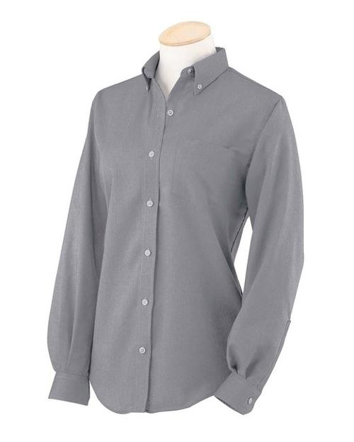 Women's Long-Sleeve Wrinkle-Resistant Oxford Shirt by Van Heusen in Contraband