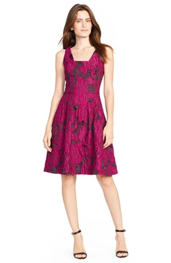 Floral Jacquard Fit & Flare Dress by Lauren Ralph Lauren in Black-ish