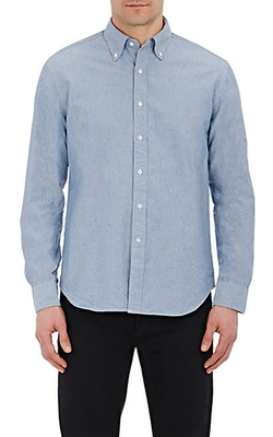 Solid Oxford Cloth Shirt by Barneys New York in Man With A Plan