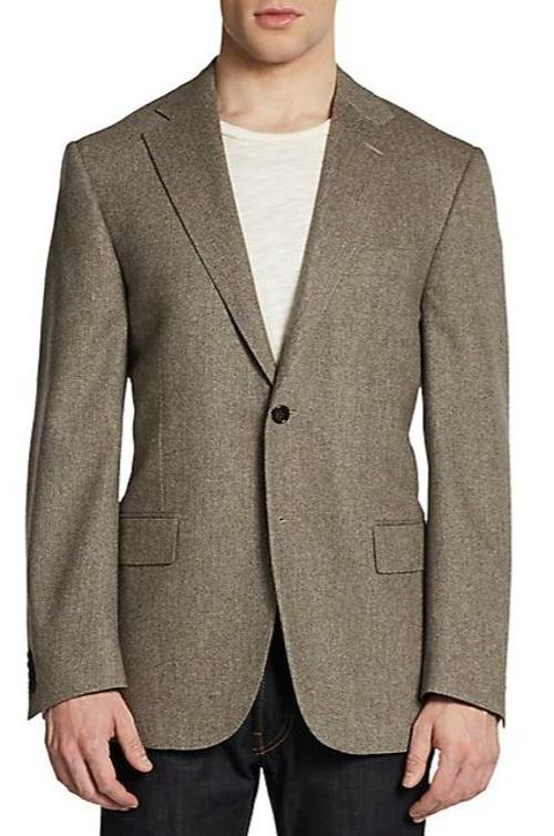 Virgin Wool & Cashmere Herringbone Slim-Fit Blazer by Corneliani in Yves Saint Laurent